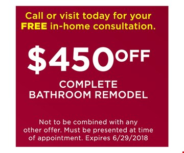 $450 off complete bathroom remodel.