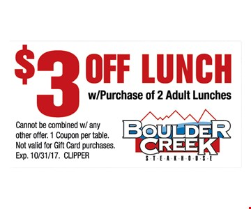$3 off lunch with purchase of 2 adult lunches