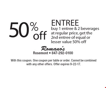 50% off entree. Buy 1 entree & 2 beverages at regular price, get the 2nd entree of equal or lesser value 50% off. With this coupon. One coupon per table or order. Cannot be combined with any other offers. Offer expires 9-22-17.
