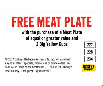 Free meat plate with purchase