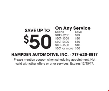 Save up to $50 On Any Service. Spend $100-$200 Save $10, Spend $201-$300 Save $20, Spend $301-$400 Save $30, Spend $401-$500 Save $40, Spend $501 or more Save $50. Please mention coupon when scheduling appointment. Not valid with other offers or prior services. Expires 12/15/17.