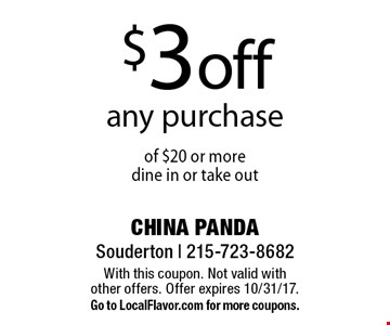 $3 off any purchase of $20 or more dine in or take out. With this coupon. Not valid with other offers. Offer expires 10/31/17. Go to LocalFlavor.com for more coupons.