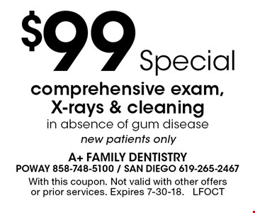 Free consultation for invisalign, implants, cosmetic dentistry or second opinions. With this coupon. Not valid with other offers or prior services. Expires 7-30-18. LFMAY