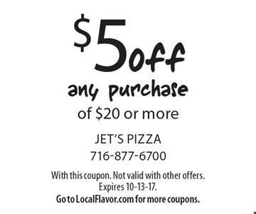 $5 off any purchase of $20 or more. With this coupon. Not valid with other offers. Expires 10-13-17. Go to LocalFlavor.com for more coupons.