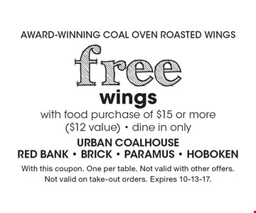 free wings with food purchase of $15 or more ($12 value) - dine in only. With this coupon. One per table. Not valid with other offers. Not valid on take-out orders. Expires 10-13-17.