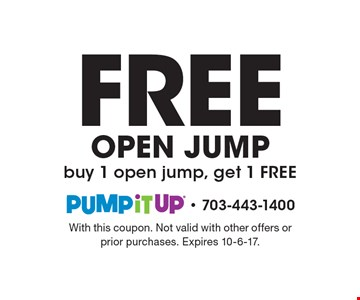 Free OPEN JUMP buy 1 open jump, get 1 FREE. With this coupon. Not valid with other offers or prior purchases. Expires 10-6-17.