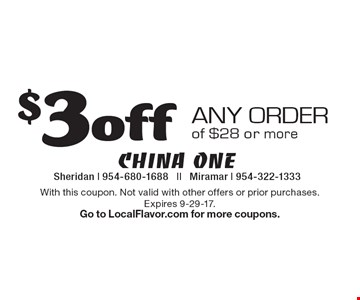 $3 off any order of $28 or more. With this coupon. Not valid with other offers or prior purchases. Expires 9-29-17. Go to LocalFlavor.com for more coupons.