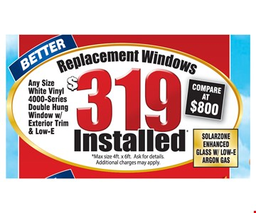 Replacement Windows $319 Installed