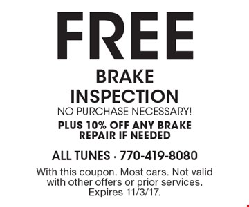 FREE BRAKE INSPECTION no purchase necessary! plus 10% off any Brake repair if needed. With this coupon. Most cars. Not valid with other offers or prior services. Expires 11/3/17.