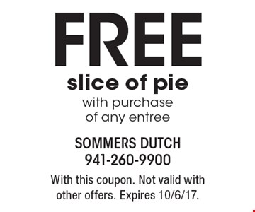 Free slice of pie with purchase of any entree. With this coupon. Not valid with other offers. Expires 10/6/17.