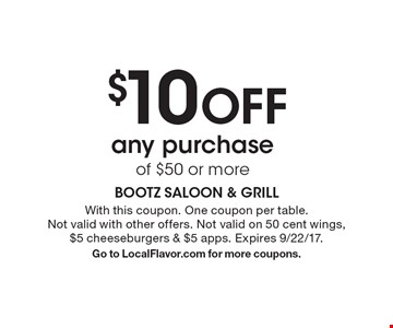 $10 OFF any purchase of $50 or more. With this coupon. One coupon per table. Not valid with other offers. Not valid on 50 cent wings, $5 cheeseburgers & $5 apps. Expires 9/22/17. Go to LocalFlavor.com for more coupons.