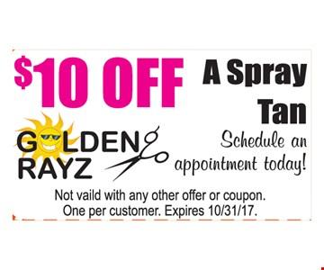 $10 Off A Spray Tan