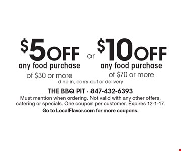 $10 OFF any food purchase of $70 or more. $5 OFF any food purchase of $30 or more. dine in, carry-out or delivery. Must mention when ordering. Not valid with any other offers, catering or specials. One coupon per customer. Expires 12-1-17. Go to LocalFlavor.com for more coupons.