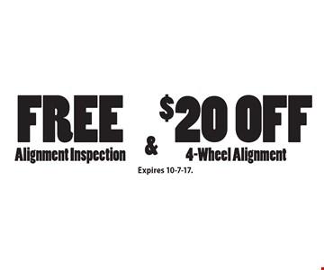 Free Alignment Inspection & $20 Off 4-Wheel Alignment. Expires 10-7-17.