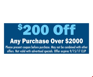 $200 off any purchase over $2,000