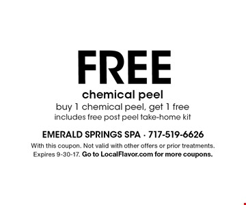 FREE chemical peel. Buy 1 chemical peel, get 1 free. Includes free post peel take-home kit. With this coupon. Not valid with other offers or prior treatments. Expires 9-30-17. Go to LocalFlavor.com for more coupons.