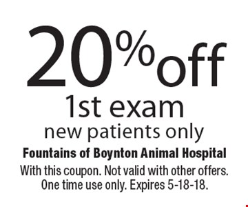 20% off 1st exam new patients only. With this coupon. Not valid with other offers. One time use only. Expires 5-18-18.
