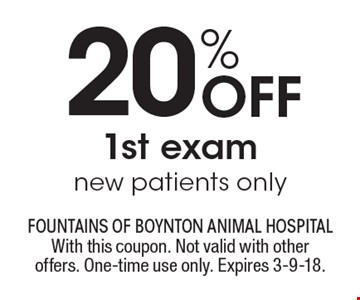 20% Off 1st exam, new patients only. With this coupon. Not valid with other offers. One-time use only. Expires 3-9-18.