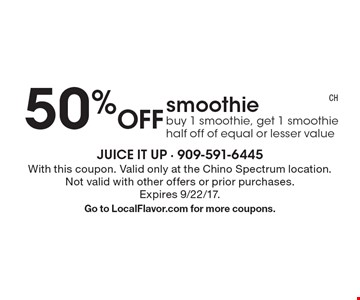 50% Off smoothie. Buy 1 smoothie, get 1 smoothie half off of equal or lesser value. With this coupon. Valid only at the Chino Spectrum location. Not valid with other offers or prior purchases. Expires 9/22/17.Go to LocalFlavor.com for more coupons.