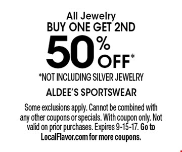 50% OFF* All Jewelry. BUY ONE GET 2ND 50% off. *Not including silver jewelry. Some exclusions apply. Cannot be combined with any other coupons or specials. With coupon only. Not valid on prior purchases. Expires 9-15-17. Go to LocalFlavor.com for more coupons.