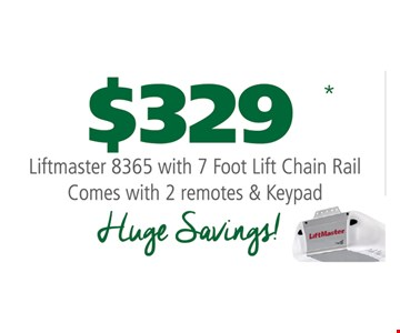 $329 Lifemaster 8365 with 7 foot lift chain rail. Comes with 2 remotes & keypad.