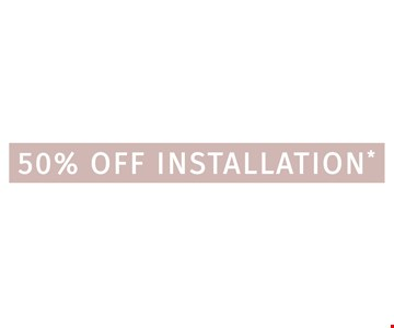 50% Off Installation. Applies to purchase of 5 or more classic or designer glide-out shelves.