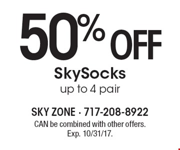 50% off SkySocks up to 4 pair. CAN be combined with other offers. Exp. 10/31/17.