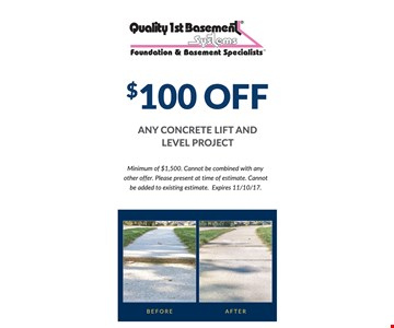 $100 Off any concrete lift and level project (minimum of $1,500)