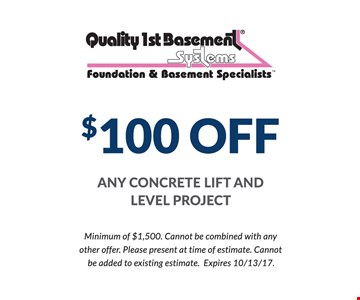 $100 Off Any Concrete Lift And Level Project