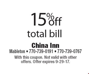 15%off total bill. With this coupon. Not valid with other offers. Offer expires 9-29-17.