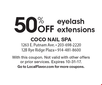 50% Off eyelash extensions. With this coupon. Not valid with other offers or prior services. Expires 10-31-17.Go to LocalFlavor.com for more coupons.
