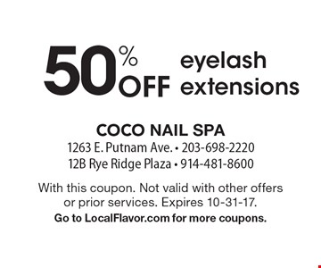 50% Off eyelash extensions. With this coupon. Not valid with other offers or prior services. Expires 10-31-17. Go to LocalFlavor.com for more coupons.
