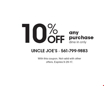 10% OFF any purchase dine in only. With this coupon. Not valid with other offers. Expires 9-29-17.