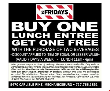 Buy one lunch entrée get one free