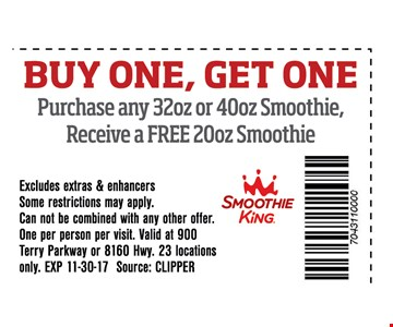 Buy One, Get One purchase any 32oz or 40oz Smoothie , Receive a Free 20oz Smoothie