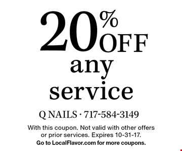 20% Off any service. With this coupon. Not valid with other offers or prior services. Expires 10-31-17. Go to LocalFlavor.com for more coupons.