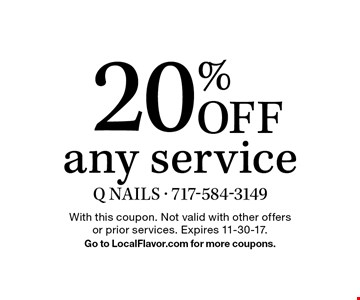 20% Off any service. With this coupon. Not valid with other offers or prior services. Expires 11-30-17. Go to LocalFlavor.com for more coupons.