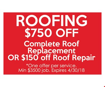 Roofing. $750 off