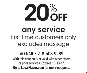 20% off any service first time customers only. Excludes massage. With this coupon. Not valid with other offers or prior services. Expires 10-13-17. Go to LocalFlavor.com for more coupons.