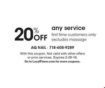 20% Off any service first time customers only. excludes massage. With this coupon. Not valid with other offers or prior services. Expires 2-28-18.Go to LocalFlavor.com for more coupons.
