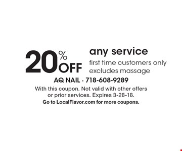 20% off any service. First time customers only. Excludes massage. With this coupon. Not valid with other offers or prior services. Expires 3-28-18. Go to LocalFlavor.com for more coupons.
