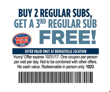 Buy 2 regular subs get a 3rd regular sub free!