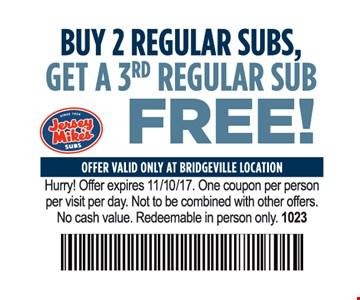 Buy 2 Regular Subs, Get A 3rd Regular Sub Free