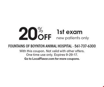 20% Off 1st exam new patients only. With this coupon. Not valid with other offers. One time use only. Expires 9-29-17. Go to LocalFlavor.com for more coupons.