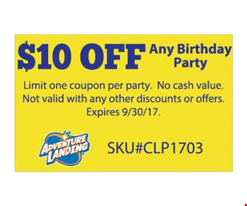 $10 off any birthday party