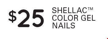 $25 Shellac color gel nails.