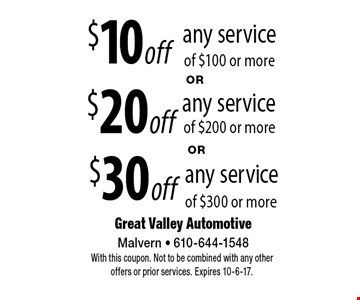 $10 off any service of $100 or more OR $20 off any service of $200 or more OR $30 off any service of $300 or more. With this coupon. Not to be combined with any other offers or prior services. Expires 10-6-17.