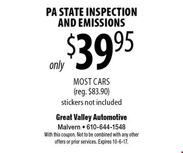 PA State Inspection And Emissions only $39.95. Most Cars (reg. $83.90) stickers not included. With this coupon. Not to be combined with any other offers or prior services. Expires 10-6-17.