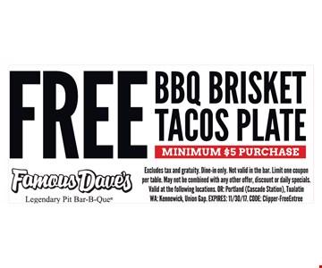 Free BBQ Brisket Tacos Plate