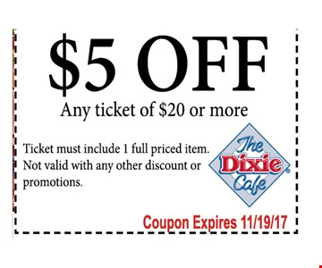 $5 off any Ticket Of $20 or More